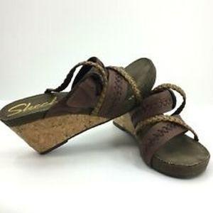 Skechers Cork Wedge Sandals Heels Shoe